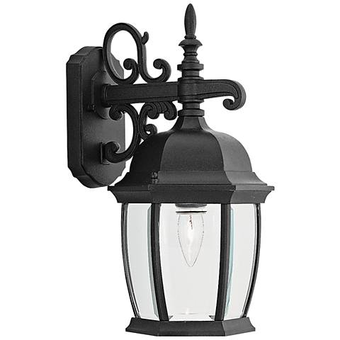 "Tiverton 16"" High Clear Glass Black Outdoor Wall Light"