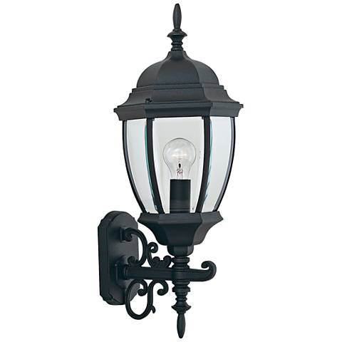 "Tiverton 24 1/4""H Clear Glass Black Outdoor Wall Light"