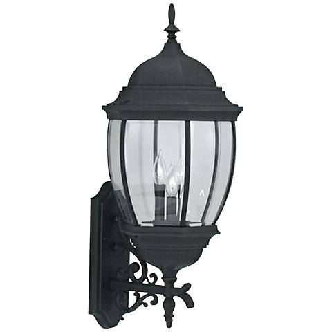 "Tiverton 29 1/4"" High 3-Light Black Outdoor Wall Light"