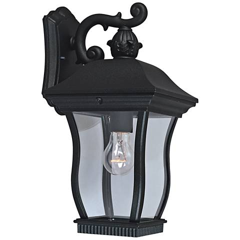 """Chelsea 14 1/2"""" High Clear Glass Black Outdoor Wall Light"""