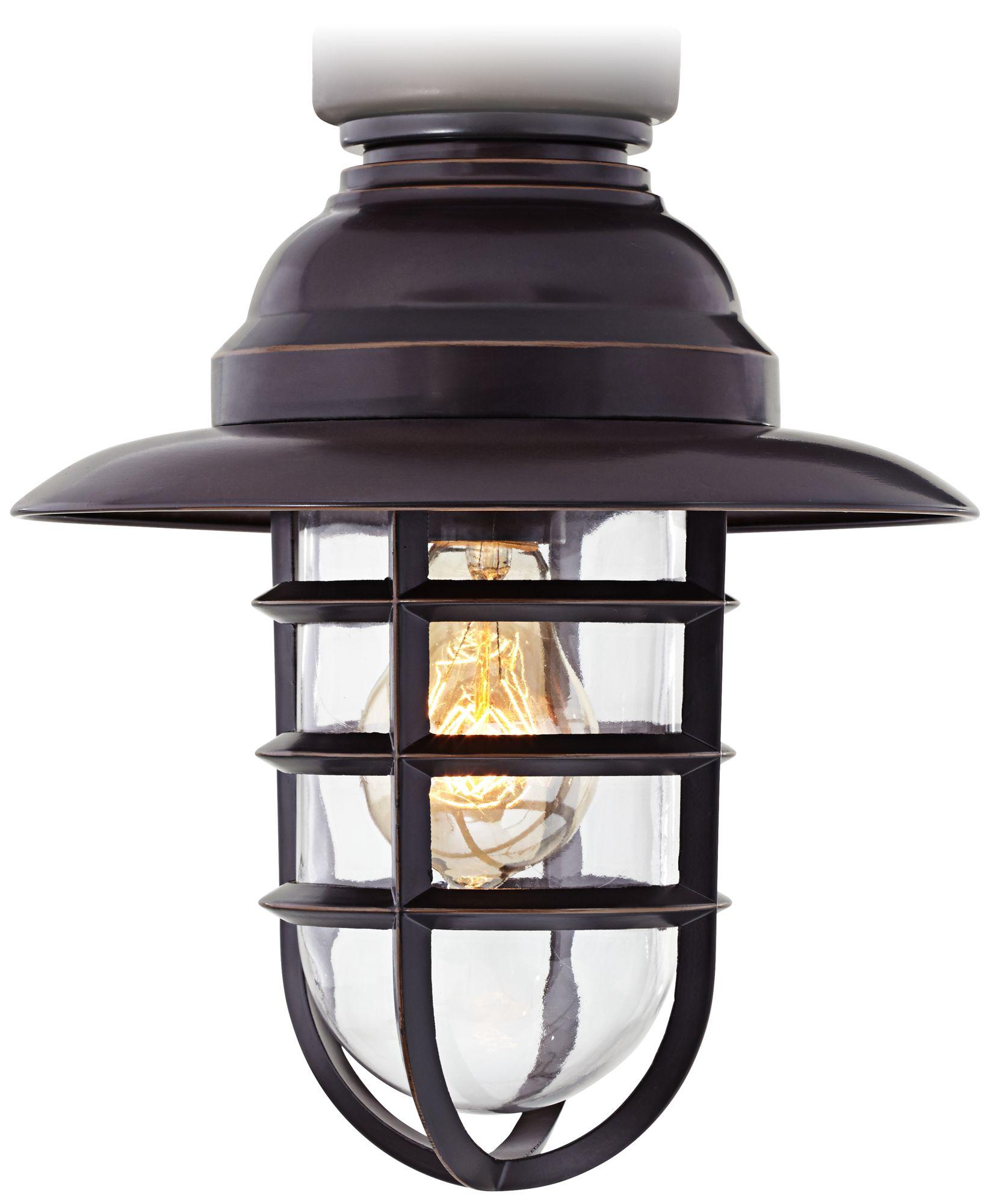 marlowe bronze hooded metal cage ceiling fan light
