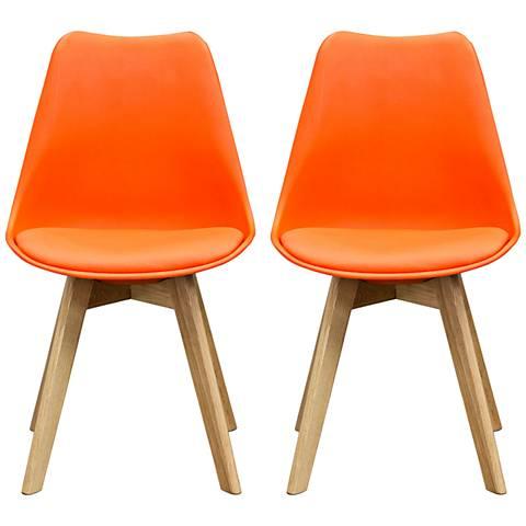 Coda Scooped Orange Leatherette Oak Side Chair Set of 2