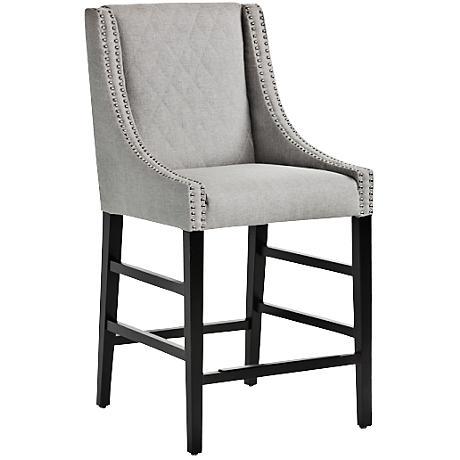 """Malabar 26"""" Silver Linen Upholstered Counter Stool"""