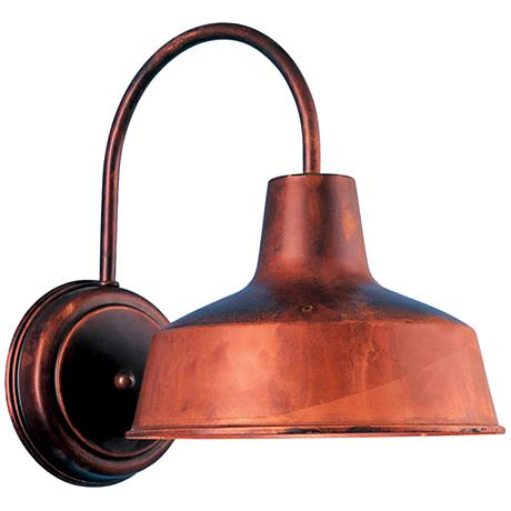 "Warehouse 13""H Rosewood Large Brass Outdoor Wall Light"