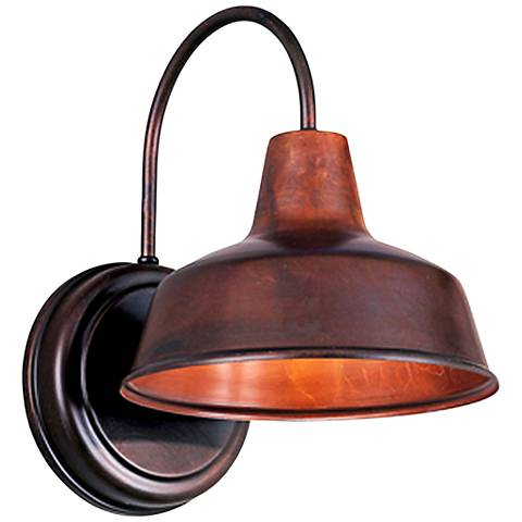 "Warehouse 12""H Rosewood Small Brass Outdoor Wall Light"