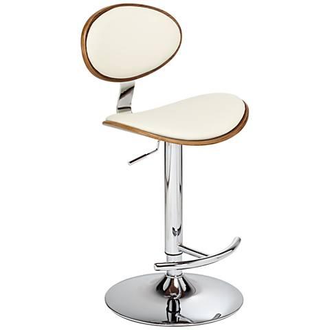 Torrioni Cream Faux Leather Adjustable Barstool
