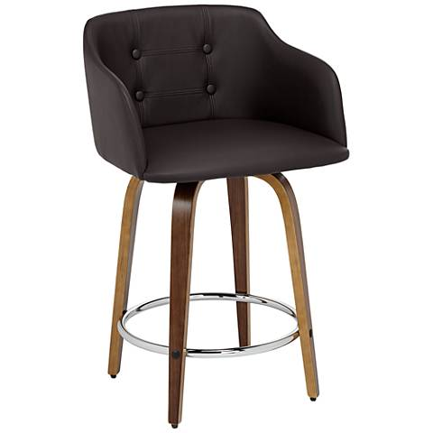 "Bruno 24"" Chocolate Faux Leather Counter Stool"