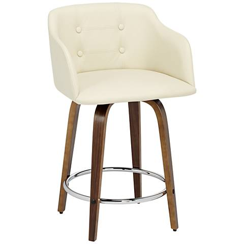 """Bruno 24"""" Cream Faux Leather Counter Stool"""