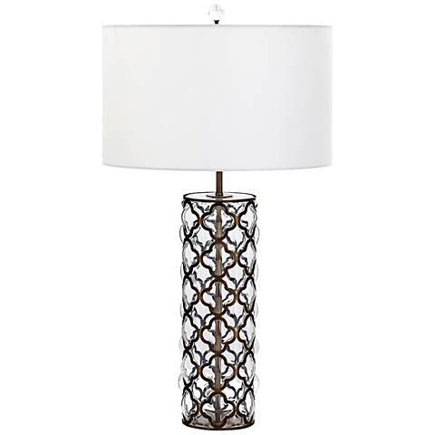 Corsica Tall Iron Lattice Overlay Clear Glass Table Lamp