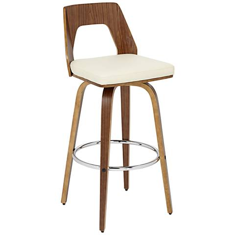 """Trilogy 30"""" Cream Faux Leather Barstool"""