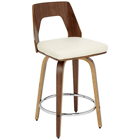 """Trilogy 24 1/4"""" Cream Faux Leather Counter Stool"""
