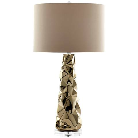 Everest Mountain Peak Polished Gold Ceramic Table Lamp
