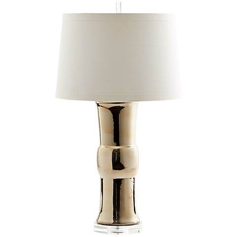 Elina Buckle Cylinder Polished Gold Ceramic Table Lamp