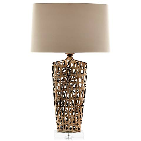 Eleuthera Bottle-Weave Gold Ceramic Table Lamp