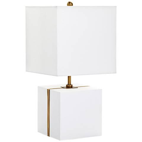Neso Square Brass Stripe White Plaster Table Lamp