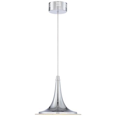 """Possini Euro Aliso 12"""" Wide Chrome LED Mini Pendant Light"""