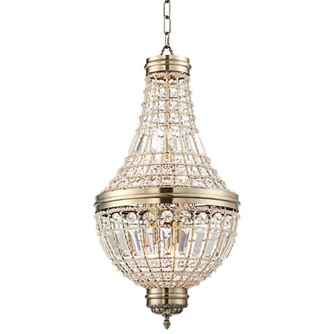 "Arbine 13 1/2"" Wide Brass and Crystal 5-Light Chandelier"