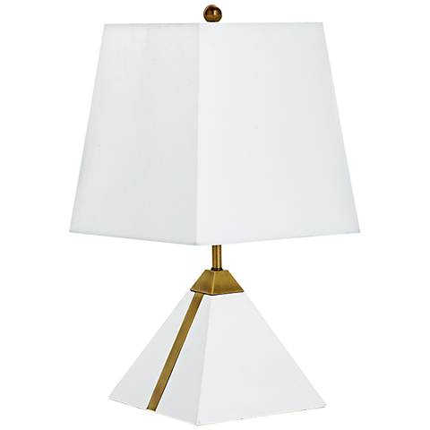 Giza Pyramid Brass Stripe White Plaster Accent Table Lamp