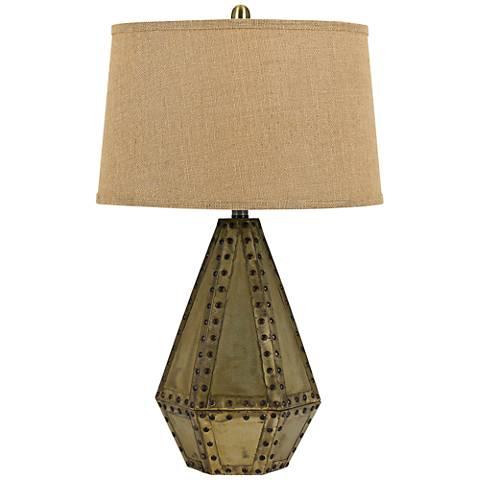 Cuero Antique Gold Diamond Metal Table Lamp