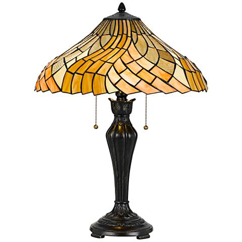 Topsfield Dark Bronze Waves Tiffany-Style Table Lamp
