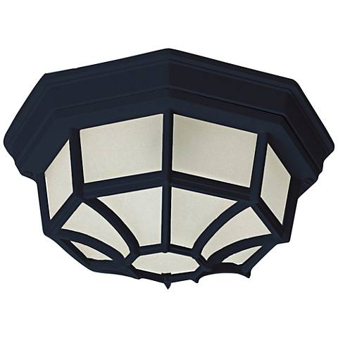 "Flush Mount 11 1/2"" Wide Black LED Outdoor Ceiling Light"