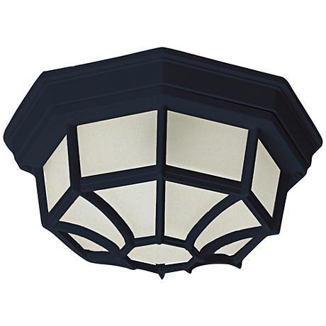 "Flush Mount 11 1/2"" Wide Black LED Outdoor Ceiling Light"
