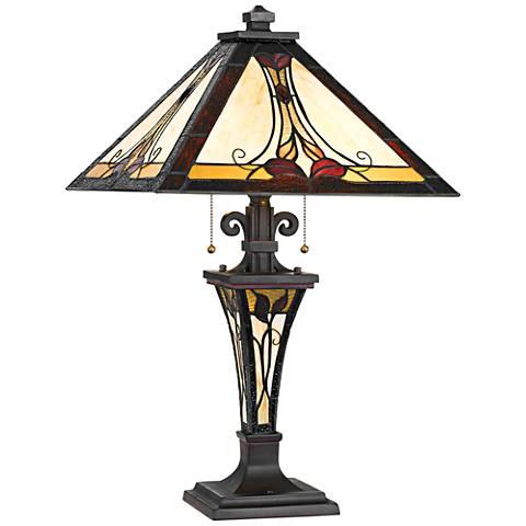 Alenhurst Black Tiffany-Style Nightlight Table Lamp