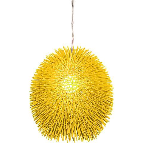 """Varaluz Urchin 13"""" Wide Un-Mellow Yellow Pendant Light"""