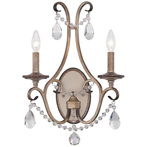 "Gala 13 3/4"" Wide 2-Light Argent Silver Satin Wall Sconce"