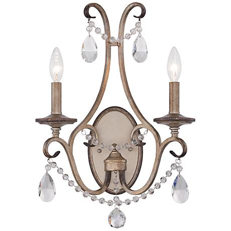 """Gala 13 3/4"""" Wide 2-Light Argent Silver Satin Wall Sconce"""