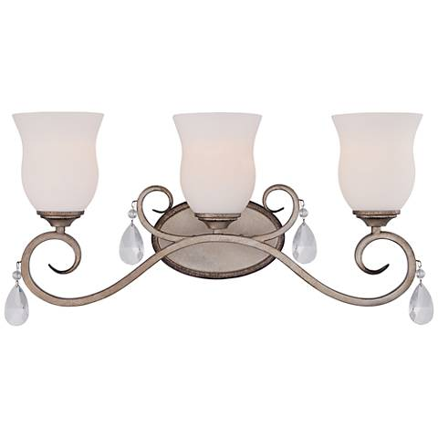 "Gala 23 1/2"" Wide Argent Silver 3-Light Satin Bath Light"