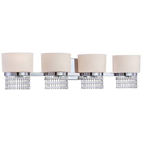 "Candence 33 3/4""W 4-Light Chrome White Opal Bath Light"
