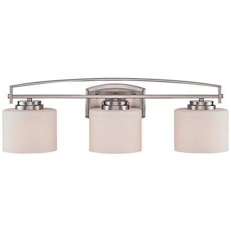 """Axel 24""""W 3-Light Opal Glass Satin Platinum Bath Light"""