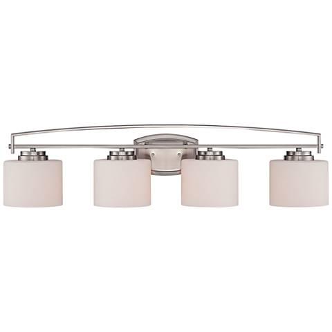 """Axel 32 1/2"""" Wide 4-Light Opal Glass Platinum Bath Light"""