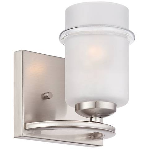 "Omega 7 3/4"" High Satin Glass Platinum Wall Sconce"