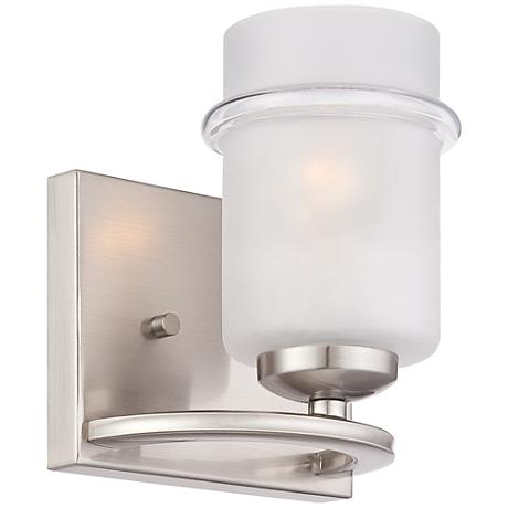 "Omega 7 3/4"" High Satin Glass Platinum Wall Sconce"