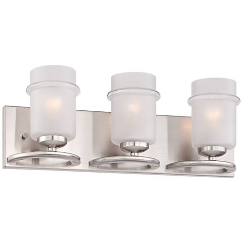 "Omega 20 1/4""W 3-Light Satin Glass Platinum Bath Light"