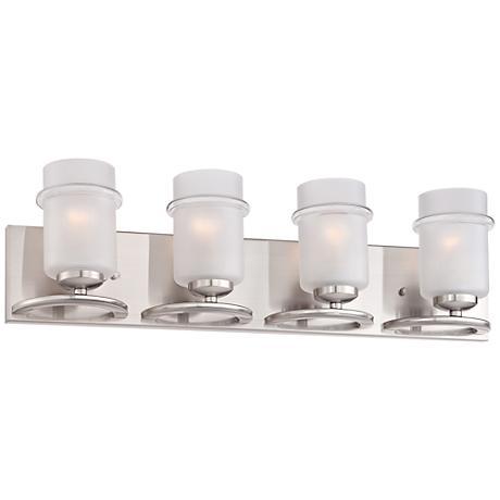 "Omega 27 1/4""W 4-Light Satin Glass Platinum Bath Light"
