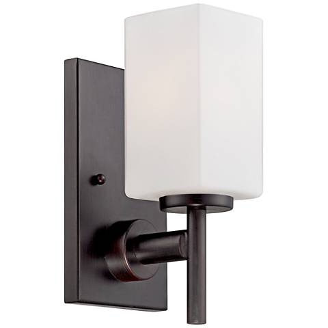 "Dakota 10"" High Frosted Glass Biscayne Bronze Wall Sconce"