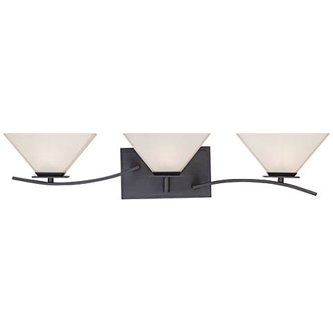 "Hyland 27"" Wide Opal 3-Light Biscayne Bronze Bath Light"