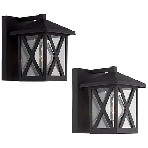 """Elkins 7 1/2"""" High Black Outdoor Lantern Set of 2"""