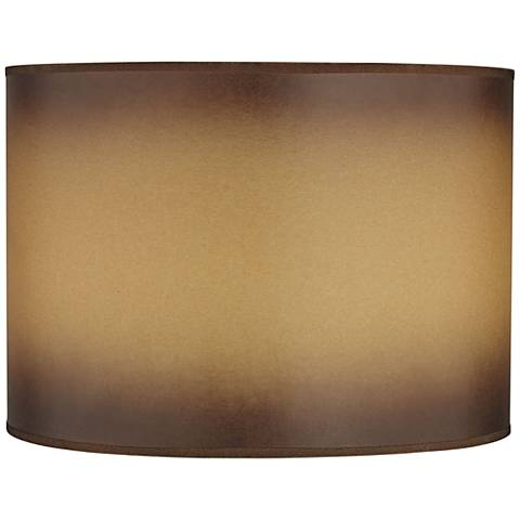 Brown Parchment Paper Drum Lamp Shade 14x14x10 (Spider)