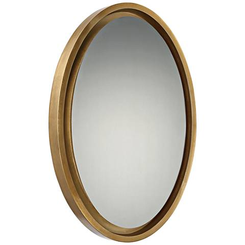 "Quoizel Hearst Gold 20 1/2"" x 30 1/2"" Oval Wall Mirror"