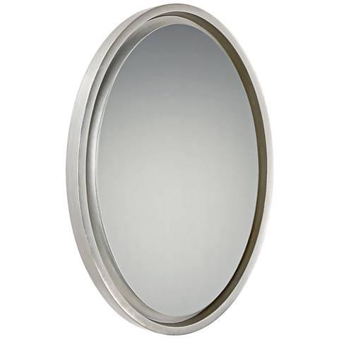 "Hearst Silver 20 1/2"" x 30 1/2"" Oval Wall Mirror"
