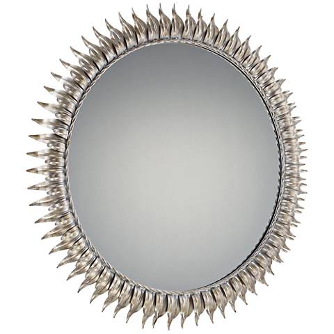 "Quoizel Tallon Ivory-Gold 36"" Round Sunburst Wall Mirror"