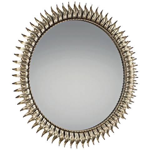 "Quoizel Tallon Silver 36"" Round Sunburst Wall Mirror"