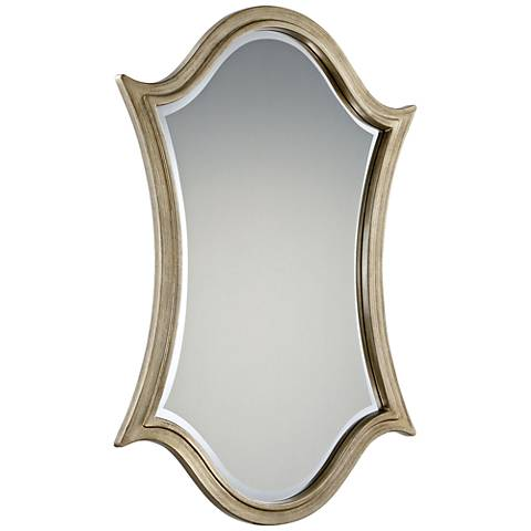 "Quoizel Vanderbilt Silver 24"" x 36"" Shield Wall Mirror"