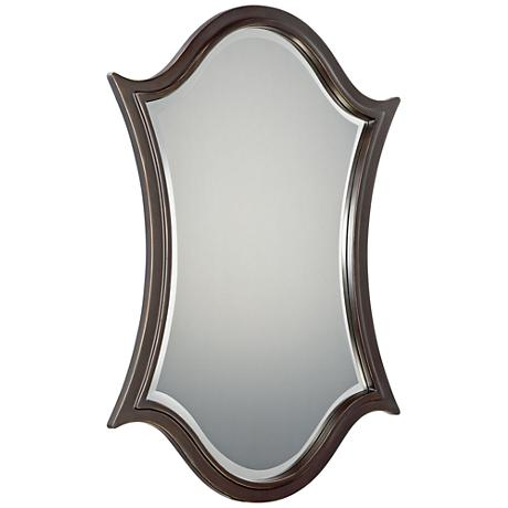 "Quoizel Vanderbilt Bronze 24"" x 36"" Shield Wall Mirror"
