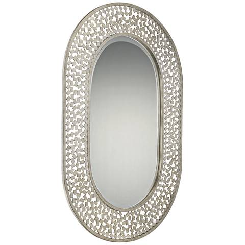 "Quoizel Confetti Old Silver 24"" x 35"" Metal Wall Mirror"