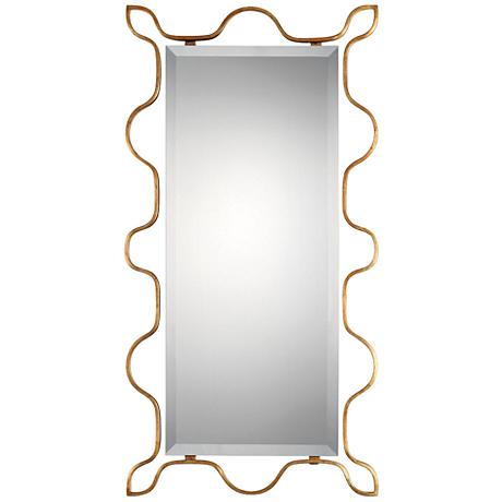"""Uttermost Nunica Gold 22 3/4"""" x 44"""" Floating Wall Mirror"""